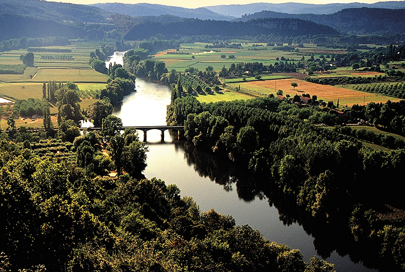 view of the dordogne river and valley france