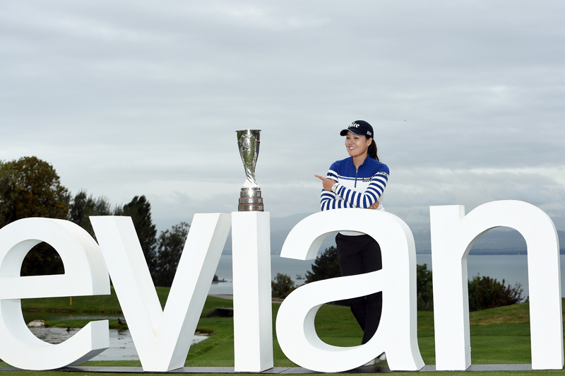 Korea's In gee Chun poses with the trophy during the final round of LPGA Evian Championship 2016, day 7, at Evian Resort Golf Club, in Evian-Les-Bains, France, on September 18, 2016. Photo Philippe Millereau / KMSP / DPPI