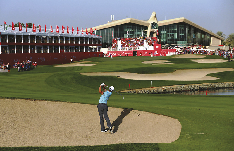 during the second round of the Abu Dhabi HSBC Golf Championship at the Abu Dhabi Golf Cub on January 16, 2015 in Abu Dhabi, United Arab Emirates.